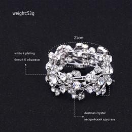 Wholesale Food Gold Leaf - Minmin Crystal Leaf Silver Color Bridal Bracelets for Women Wholesale Wedding Jewelry Bracelets Fashion Accessory SL108
