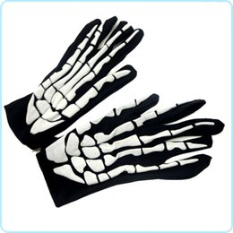 Wholesale Spandex Devil Costume - Halloween Cosplay Gloves Matches Ghost Clothing Terrorist Skeleton Ghost Gloves Elastic Skeleton Gloves For Halloween COS Props