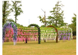 Wholesale Artificial Hanging Baskets - Artificial Wisteria Vine Rattan 110cm 6 colors Decorative Bouquet Garlands for Party Wedding Home Free Shipping