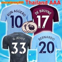Wholesale Short Jesus - Thai 17 18 De Bruyne MENDY soccer jersey Adult men 2017 2018 city KUN AGUERO football shirt JESUS SILVA BERNARDO Camiseta maillot uniform