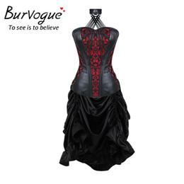 corsés overbust Rebajas Al por mayor-Burvogue mujeres Steampunk estilo gótico Corsetlet cintura entrenamiento bordado vestido corsé Bustiers Overbust Corsetlet vestido