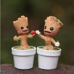 Wholesale Heads Dance - 1 PC Color Random POP Marvel Groot Dancing Potted Trees Bobble Head Figure Model Guardians of the Galaxy Kids Toy