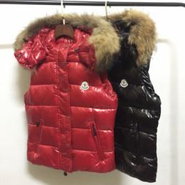 Wholesale down vest fur collar - M Brand 100% real raccoon fur collar hood Vest Women Fashion Outwear Coats Warm Vest Casual Down Vests
