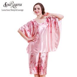 Wholesale Plus Satin Pajamas - Wholesale- 2017 Top Fashion Pyjamas For Women Plus Size Women Pajamas Satin Pijama Bath Robe Longue 2 piece pajama set 10219