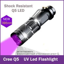 Wholesale Flashlight Cree Aa - CREE Q5 LED UV Flashlight Purple Violet Light Mini Zoomable Lights UV 395nm Lamp Shock Resistant 1*14500 1*AA