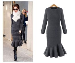 Wholesale Big Skirt Long Dress - 2016 autumn new European and American big yards was thin long-sleeved dress with star Slim fishtail skirt female