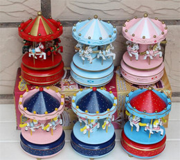 Wholesale Toy For Child Female - Carousel Music Box Birthday Gift Toys For Children Bless Animated Luxury 4 Horse Go Round Musical Swings Carousels Classic Music Box