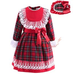 Wholesale Girls Red Checked Dresses - Pettigirl 2018 Newest Plaid Boutique Girls Autumn Lace Dress With Bow Hairbands Checked Long-Sleeved Wear Children Red Clothes G-DMGD908-892