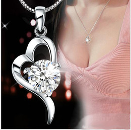 Wholesale Heart Crystals For Wedding Dresses - NEW ARRIVAL 30% 925 sterling silver Top Grade Diamond Cubic Zircon Heart Pendant necklace For Wedding Dress Sets Party