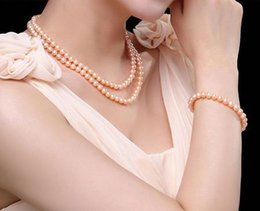 Wholesale Double Strand Pearl Necklace Bracelet - Classic double strand 9-10mm south sea gold pink pearl necklace 18inch 19inch 925 silver clasp free bracelet 7.5-8 inch