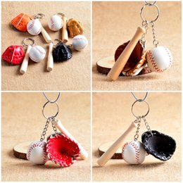 Wholesale Baseball Bat Holder - Mixed Colors Baseball Gloves Wooden Bat Keychains 3 Inch Pack Of 12 Key Chain Ring Cartoon Keychain Best Christmas Gift F417L