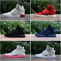 Wholesale Gingham Shoes - 2016 Fashion Top Quality Famous Originals Tubular Invader Strap Kanye West 750 Boost Mens Sports Running Athletic Sneakers Shoes Size 40-44