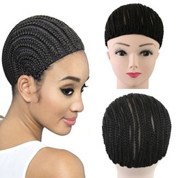 Wholesale Lace Weave Caps - 1 pcs Cornrow Wig Caps For Making Wigs Adjustable Braided Wig Cap Weaving Cap For Glueless Lace Wig Making Bellqueen Hair Factory Products