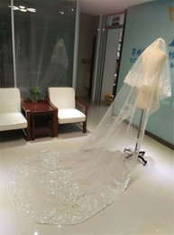 Wholesale Net Metering - Gorgeous Real Image Two Layers Wedding Veils Sequined Lace Cathedral Length Bridal Veil Three Meters Bridal Accessories