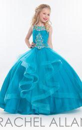 Wholesale Dresess Girls - 2016RACHEL ALLAN New Girl'S Pageant Dresses Beaded Top Tulle Floor Length Little Flower Girl Dresses Pageant Girl's Dresess HY00754