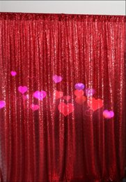 Wholesale Cheap Wedding Curtains - Free Shipping Red 8ftx9ft 2016 new fashion Sequin Wedding backdrop curtain with sequin Cheap studio backgrounds for photography
