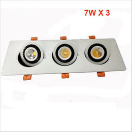 Wholesale Off Grid Light - 2016 new 7W*3 Three Heads COB ceiling lights 360 degree Square Rotary Gimbal Led Recessed Grid Ceiling Lamp for bedroomliving room
