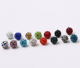 Wholesale Blue Pearl Studs - 2018 New Jewelry 8mm Pearl Earrings Polymer clay Full drill Stud Earrings for Wedding Party colorful Stud earrings Free Shipping 42