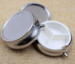 Wholesale Medicine Containers - 100pcs Metal Pill boxes DIY Medicine Organizer container silver-Free Shipping