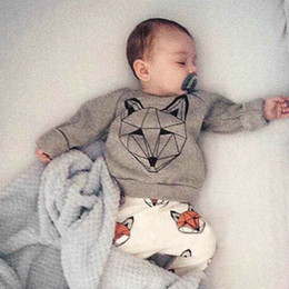 a359d74bebc INS New Children Cotton Clothing Sets Boys Girls Long Sleeve T- Shirt +  Pants Outfits Suits Kids Baby Fox Pattern Infants Toddlers Clothing