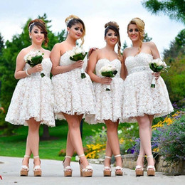 Wholesale white mini dress train - 2017 New Arrival Full Lace Short Bridesmaid Dresses Sweetheart Floor Length A Line Mini Maid Of Honor Dresses Custom Made