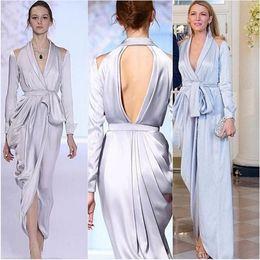 Wholesale Blake Lively Blue Dress - Ralph & Russo Silver Long Sleeve Asymmetrical Split Evening Dresses 2016 Blake Lively V-neck Elegant Dubai Arabic Occasion Prom Formal Dress