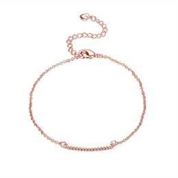 Wholesale Clear Crystal Claw Setting - Exquiste Rose Gold Plated Rolo Chain Round Cut Clear CZ Prong Setting Crystal Tennis Bracelet for Gift Free Shipping
