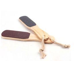 Wholesale Wood Rasps - Pedicure Foot Rasp Foot Massage Tools Repair Foot Washboard Manicure Foot Brush Double Sided Care Skin Tools Wood Handle