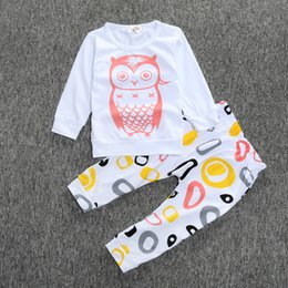 Wholesale Long Sleeve Owl Shirt - 2016 Fall baby clothing Long sleeve T-shirts tops pants 2pcs sets outfits owl Toddler clothes milk striped letters cotton fee express