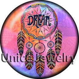 Wholesale Heart Dreams - AD1304558 12 18 20mm Snap On Charms for Bracelet Necklace Hot Sale DIY Findings Glass Snap Dream Catcher Symbol Design