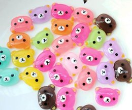 Wholesale Animal Resin Cabochons - 120pcs semi transparent glitter Bear Resin Cabochons animals,Flat Backs, Kawaii
