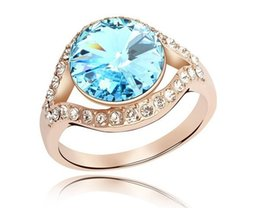 Wholesale Swarovski Crystal Ring Blue - New Blue Crystal Engagement Wedding Ring Made With Genuine Swarovski Elements Rings Fashion Jewelry Wholesale Bulk Rings RJZ0008