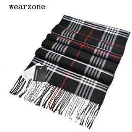 Wholesale Men Scarf Knitting Patterns - Wholesale-2016 New Autumn Winter Men Women Scarves Classical Gird pattern Plaid Scarf Shawl fashion Cotton Acrylic Knitting Wrap,ATW