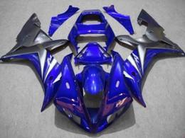 Kit de carenado yzf r1 plata online-CUSTOM Kit de carenado de motocicleta para YZFR1 02 03 YZF R1 2002 2003 yzfr1 YZF1000 NUEVO Juego de carenados de ABS negro plateado