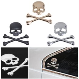 Wholesale Honda Fit Carbon - 1 Set Car Motorcycle Motorbike Window Laptop Computer Wall Sticker Skull Head Sticker Decal Fit Harley Honda Suzuki Yamaha BMW