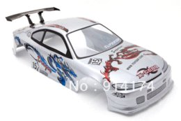 Wholesale Painted Rc Bodies - 1 10 RC Car PVC Painted Body Shell 190mm Silver NO:008 led channel light