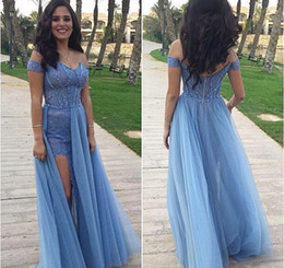 Wholesale Sexy Models Legs - Light Sky Blue 2016 Prom Dresses Leg Spirts Formal Lace Sheath Evening Gowns With Bateau Neck Zip Back Floor Length Tulle Fabric