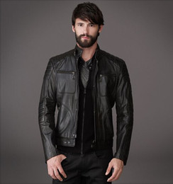 Wholesale Quiet Men - Latest men leather jackets your winter ideal jackets concise slim quiet jackets 4 pockets closed with zipper cost-effective jackets