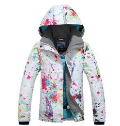 Wholesale Female Ski Jackets - 2017 women elegant printing ski jacket female white snowboarding skiing jacket waterproof outerwear winter outdoor sportswear