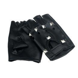 Wholesale Punk Gloves Men - Wholesale- SIF Theatrical Punk Hip-hop PU Black Half-finger Leather Gloves Square Nail DEC 25