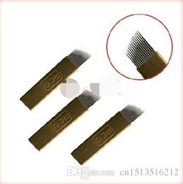 Wholesale Gold Tattoos Permanent - 100 pcs 2016 Needles Tatoo ultrafine steel sheet winding Tattoo Gold 14 acupuncture blade floating Eyebrow Tattoo tablets permanent Makeup
