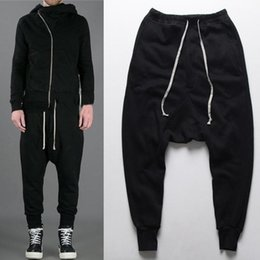Wholesale Harem Dancing Pants For Men - mens joggers Casual urban clothing trousers harem pants men black fashion swag dance drop crotch hip hop sweatpants for men