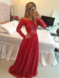 Wholesale Detailed Formal Dresses - Red Long Sleeve Sexy Prom Dresses 2016 Off-the-shoulder A-line Lace Chiffon Pearl Detailing Floor-length Formal Gowns Fast Shipping