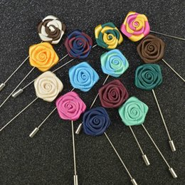 Wholesale Men Clothing Wedding - Classic Brooches Handmade Lapel Cloth Rose Flower Brooch Boutonniere Stick For Men Women's Clothes Accessories Party