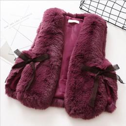Wholesale Girls Vest Fur Collar - Girls Vests Coat 2017 Kids Girls Faux Fox Fur Waistcoat Infant Girl Warm Jackets Princess Outwear Children Clothing HX-671