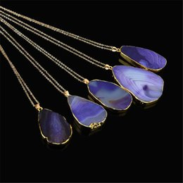 Wholesale Gold Crystal Jewellry - Natural Stone Pendants Necklaces Women Men Jewelry natural stones Quartz Crystal texture Pendant Necklace Chains womens mens Jewellry Gifts