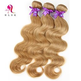 Wholesale 24 Blond - Malaysian Body Wave 3 Bundles Blond Wavy Hair Extensions Dyeable Malaysian Virgin Hair Body Wave Long Lasting #27 color