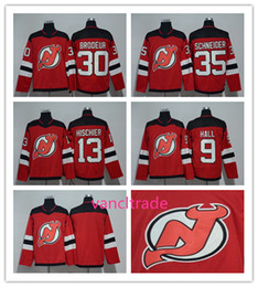 Wholesale Flashing Yellow - 2017-2018 Season New Jersey Devils Jersey 9 Taylor Hall 13 Nico Hischier 30 Martin Brodeur 35 Cory Schneider Red Hockey Jerseys