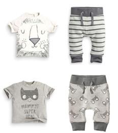 diseños de camisetas de león Rebajas Baby INS stripe lion Trajes 2 Diseño niños niños dibujos animados Camiseta de manga corta + pantalones 2 piezas Traje de dibujos animados pijamas Trajes