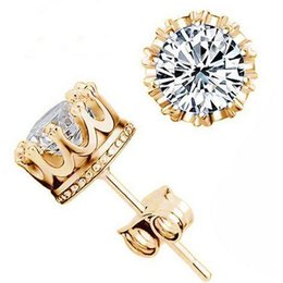 Wholesale Earings Diamond Silver - Silver Plated CZ Diamond Male Crystal Cute Earings Cubic Zircon for Women Bigiotteria Cristallo Platinum 24K Gold Plated Jewelry Y048
